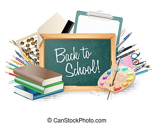 little blackboard border with notepad sheets, color pencils, pens, ruler,art palette, pile of books. school vector background
