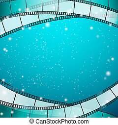 cinema background with film strips as frame over blue...