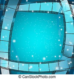 cinema frame square background with film strips over blue...