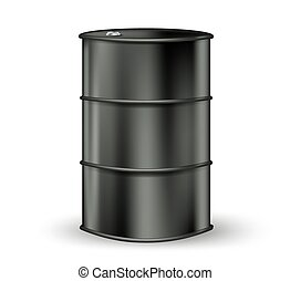 black metallic oil barrel on white vector illustration
