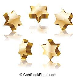 set of golden star of David on white vector illustration