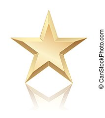 abstract golden star with reflection on white