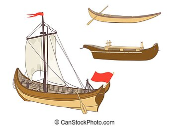 wooden sailing boats on white vector illustration