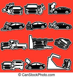 silhouette car accident - silhouette icons of personal car...