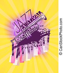 Jazz trumpet music festival yellow and pink background template