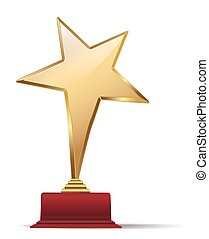 golden star award on red base. vector illustration