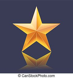 yellow gold shining star on dark background
