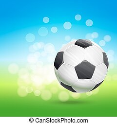 flying soccer ball over green and blue sky landscape. football theme vector illustration