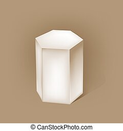 white hexagonal prism on brown vector