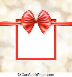 red bow on square frame gift box with blurry background. vector illustration
