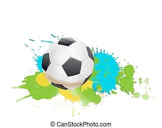 soccer ball on color splashes