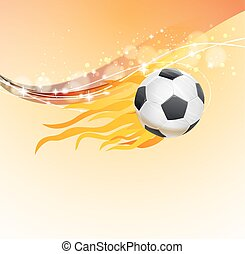 soccer background with flying ball with fire flames. vector illustration