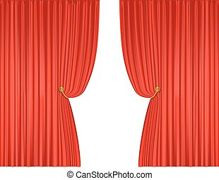 open red theatre curtains background. vector illustration