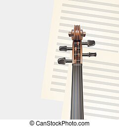 violin neck on musical background