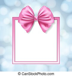 pink bow and square box frame on blurry light blue...