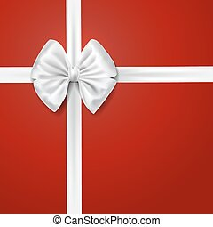 white silky bow over red background