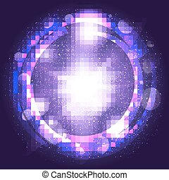 light burst purple explosion with rays, abstract elements, transparent lines. vector illustration