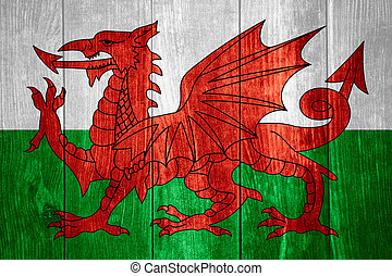 flag of Wales or Welsh banner on wooden background