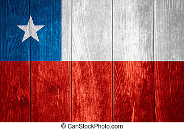 flag of Chile or Chilean banner on wooden background
