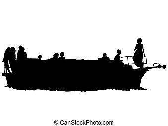 Retro motor ship - Silhouette of retro ship on white...