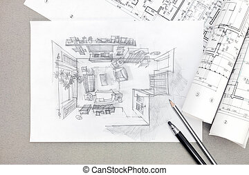 freehand sketch architectural drawing of living room with...