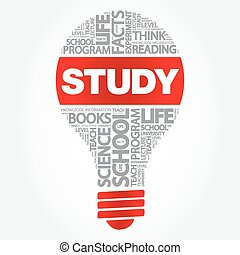 STUDY bulb word cloud, business concept