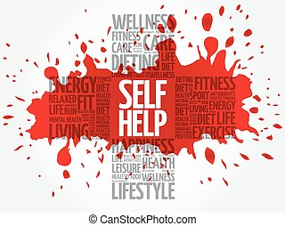 Self Help word cloud, health cross concept