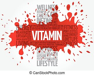 VITAMIN word cloud, health cross concept