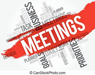 MEETINGS word cloud, business concept background