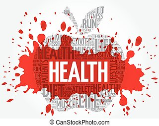 Health apple word cloud