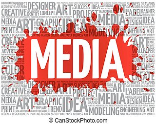 MEDIA word cloud, creative business concept