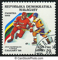 postmark - MALAGASY - CIRCA 1988: stamp printed by Malagasy,...