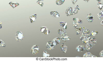 Gemstones scatter and fly away over studio light background...