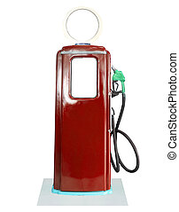 Vintage fuel pump on white background - Old brown petrol...