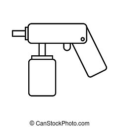 Spray aerosol can bottle with a nozzle icon in outline style...
