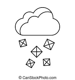 Cloud and hail icon, outline style - Cloud and hail icon in...