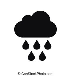 Cloud with rain drops icon, simple style