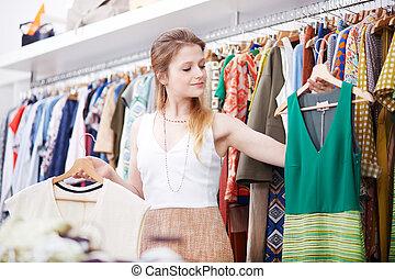 klänning, kvinna, inköp, ung, lager