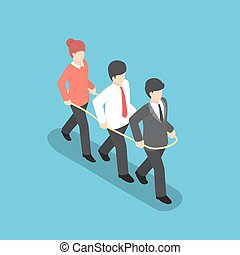 Isometric business people walking forward together