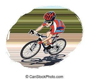 Cyclist - Cartoon style illustration: a cyclist riding his...