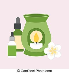 oil burner with flower and bottle of essential oil, flat...