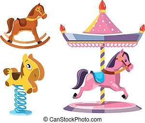 vector illustration set of diferent rocking litle horses...