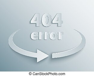 404 Error Page with reboot round arrow in 3d, paper and...