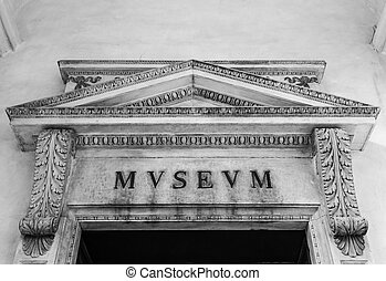 Old Museum Entrance - Detail of an old Museum sign in Italy...