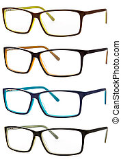 set spectacles isolated on white background
