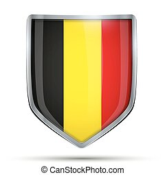 Shield with flag Belgium