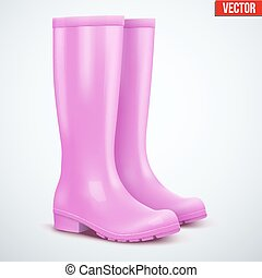 Pair of female pink rain boots