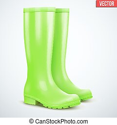 Pair of green rain boots