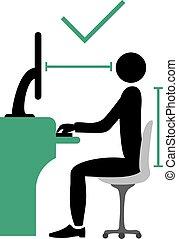 correct back sitting pose - Creative design of correct back...