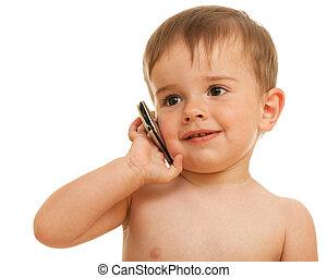 Speaking over mobile little boy